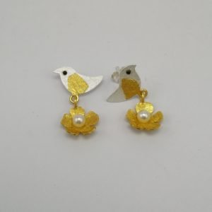 Silver Stud Earrings - Gold Plated Bird and Flower