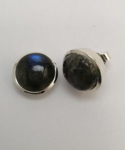 Silver Stud Earrings - 12mm Tube Set Cabochon Labradorite