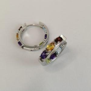 Silver Hoop Earrings - 21mm Hinged Multi Colour
