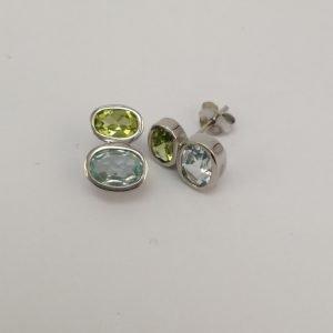 Silver Stud Earrings – Double Oval Tube Set Blue Topaz and Peridot