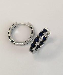 Silver Hoop Earrings – 21mm Hinged Sapphire