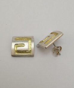 Silver Stud Earrings - Gold Plated Two Tone Pattered Square
