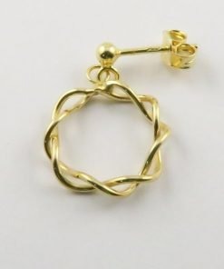 9ct Yellow Gold 16mm Circle Stud Drop Earrings