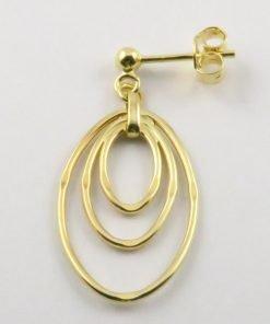 9ct Yellow Gold 15mm Oval Stud Drop Earrings
