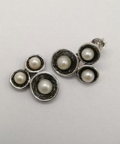 Silver Stud Earrings - Oxidized Tri-Cup with White Freshwater Pearls