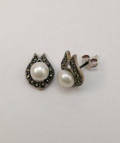 Silver Stud Earrings - 6mm White Freshwater Pearl with Marcasite Rim