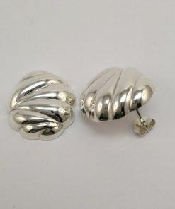 Silver Stud Earrings - Hollow Patterned