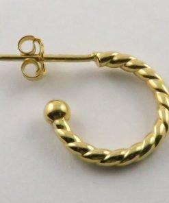 9ct Yellow Gold 14mm Twisted Stud Hoop Earrings
