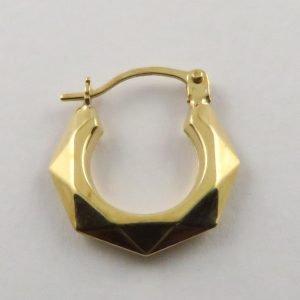 9ct Yellow Gold 14mm Geometric Hoop Earrings