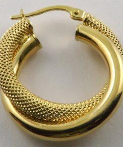 9ct Yellow Gold 21mm Plain & Stippled Double Tube Hoop Earrings
