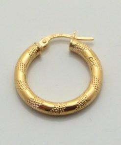 9ct Yellow Gold 50mm Patterned Hoop Earrings