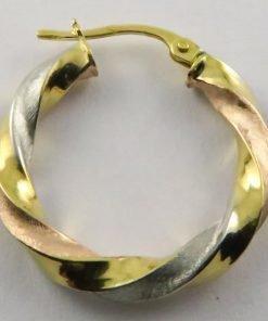 9ct Tri-colour 21mm Twisted Hoop Earrings