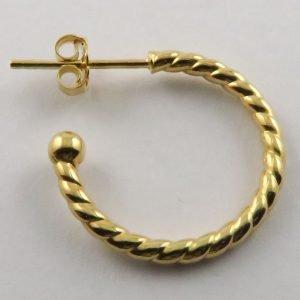 9ct Yellow Gold 19mm Twisted Stud Hoop Earrings