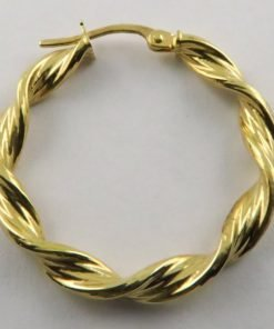 9ct Yellow Gold 26mm Twisted Hoop Earrings