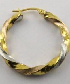 9ct Tri-colour 26mm Twisted Hoop Earrings