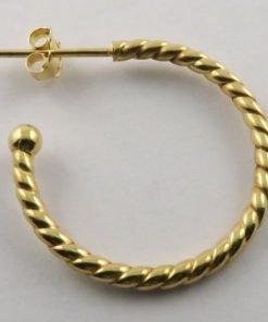 9ct Yellow Gold 24mm Twisted Stud Hoop Earrings