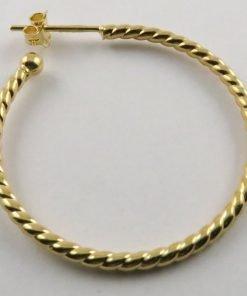 9ct Yellow Gold 33mm Twisted Stud Hoop Earrings