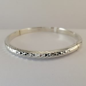 Silver Bangles - 5mm Patterned Hollow Hinged