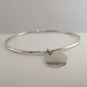 Silver Bangles - 2mm Hollow Tube with 15mm Disc