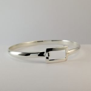 Silver Bangles - 4.5mm D-Shaped with Rectangular Clasp