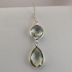 Silver Drop Earrings - 45mm Checkerboard Green Amethyst