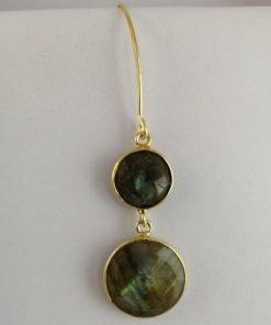 Silver Drop Earrings - 55mm Gold Plated Labradorite
