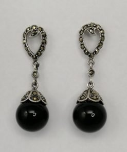 Silver Drop Earrings - 45mm Onyx and Marcasite