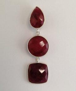 Silver Drop Earrings - 50mm Checkerboard Ruby