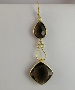 Silver Drop Earrings - 66mm Gold Plated Smokey Quartz with Filigree