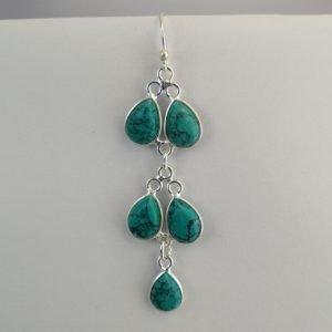 Silver Drop Earrings - 67mm Turquoise