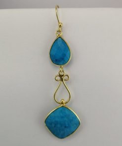 Silver Drop Earrings - 66mm Gold Plated Turquoise with Filigree