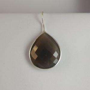 Silver Drop Earrings - Teardrop Checkerboard Agate
