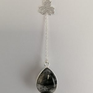 Silver Drop Earrings - 57mm Patterned Disc with Black Rutilated Quartz