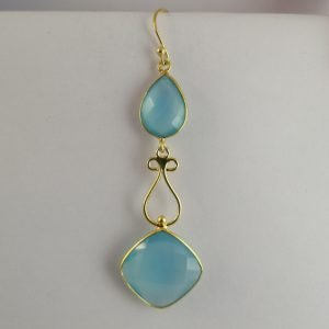 Silver Drop Earrings - Gold Plated Chalcedony with Filigree