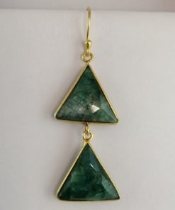 Silver Drop Earrings - 55mm Gold Plated Triangle Emerald