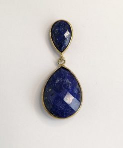 Silver Drop Earrings - 37mm Gold Plated Lapis Lazuli