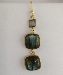 Silver Drop Earrings - 58mm Gold Plated Labradorite
