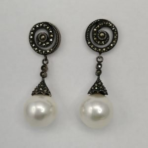 Silver Drop Earrings - 45mm Marcasite and Shell Pearl