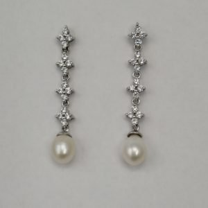 Silver Drop Earrings - 45mm Cubic Zirconia and White Freshwater Pearl