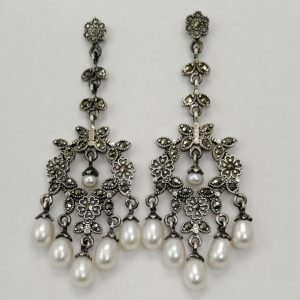 Silver Drop Earrings - 64mm Marcasite and White Freshwater Pearl Chandelier