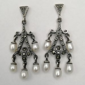Silver Drop Earrings - 50mm Marcasite and Pearl
