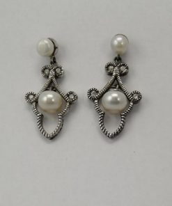 Silver Drop Earrings - 34mm Cubic Zirconia and Freshwater Pearl