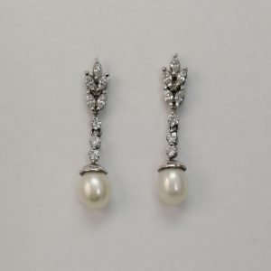 Silver Drop Earrings - 37mm Cubic Zirconia and Freshwater Pearl
