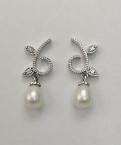 Silver Drop Earrings - 28mm Cubic Zirconia and White Freshwater Pearl