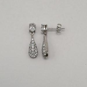 Silver Drop Earrings - 22.5mm Cubic Zirconia Encrusted
