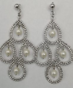 Silver Drop Earrings - 48mm Chandelier with Freshwater Pearls
