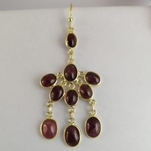 Silver Drop Earrings - 55mm Gold Plated Pink Tourmaline