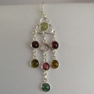 Silver Drop Earrings - 63mm Pink and Green Tourmaline