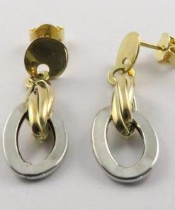 9ct Tri-colour 10mm Stud Drop Earrings