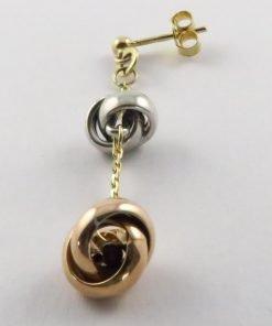9ct Tri-colour 9mm Stud Drop Earrings